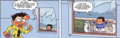 Sébastien envoie une pierre à travers la fenêtre pour contacter le Joueur du Grenier (Joueur du Grenier - BD - Tome 1)
