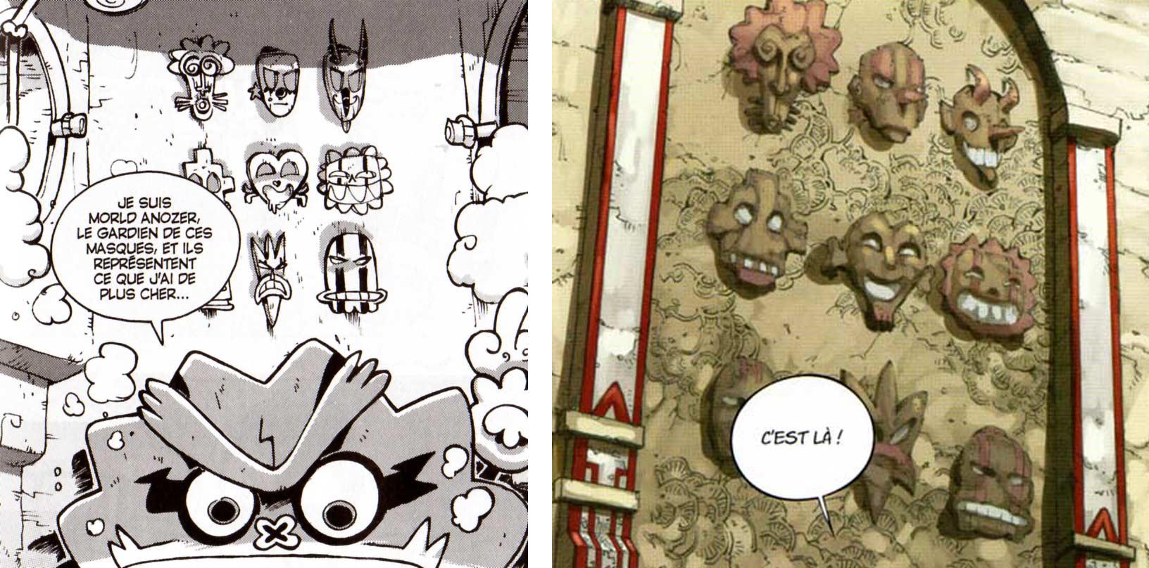 Le design et l'ordre des masques est basé sur le tome 15 de Dofus