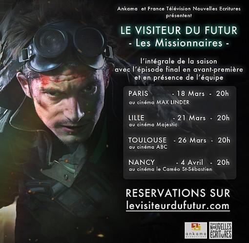 Affiche des projections cinéma du visiteur du futur