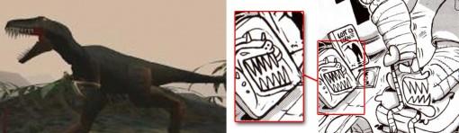 la tête de dinosaure est elle aussi tirée de Lost Eden, il s'agit de Morkus Rex le méchant du jeu