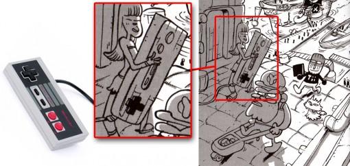 Le personnage de gauche tient une manette de Nintendo NES géante.