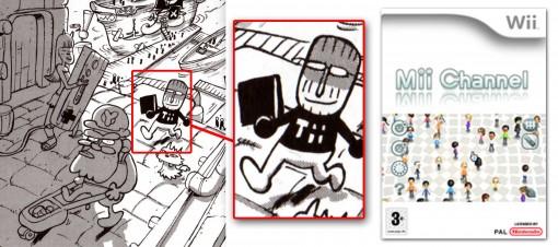 Le personnage de droite est Tot le scénariste qui a été dessiné en version Mii, les avatars de Mii Channel.