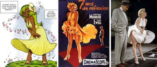 la pose et la robe d'Amalia sont un clin d'œil à Marylin Monroe