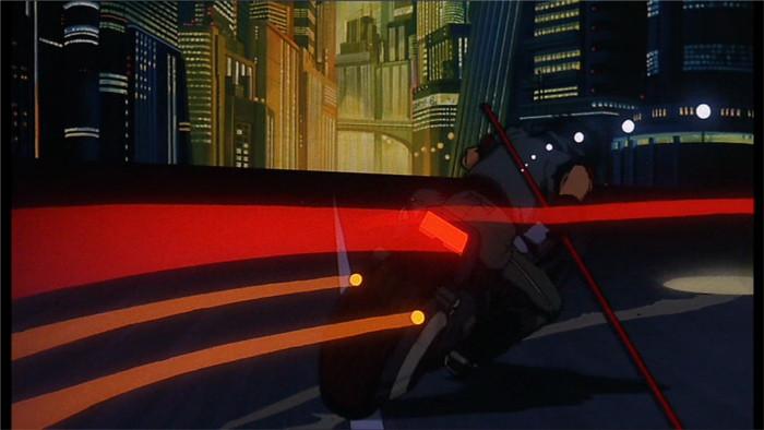 Exemple d'effet spécial : accélération de moto (film d'animation Akira)