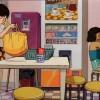 Kaori dans la salle commune des étudiantes