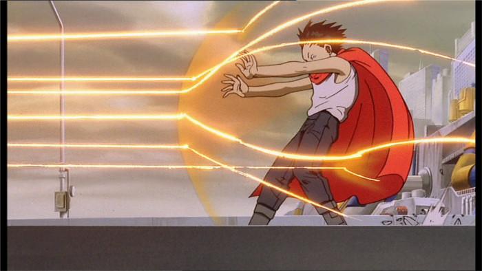 Tetsuo arrête les rayons lasers des militaires qui souhaitent l'empêcher d'aller au stade où se trouve Akira