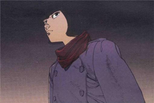 Première apparition de Kay dans le manga : elle arrive dans le bar de Kaneda