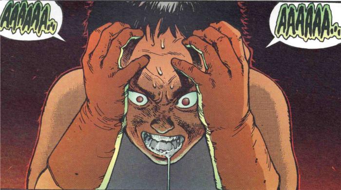 A cause de ses pouvoirs, Tetsuo en pleine crise malgré l'ingestion de beaucoup de drogues
