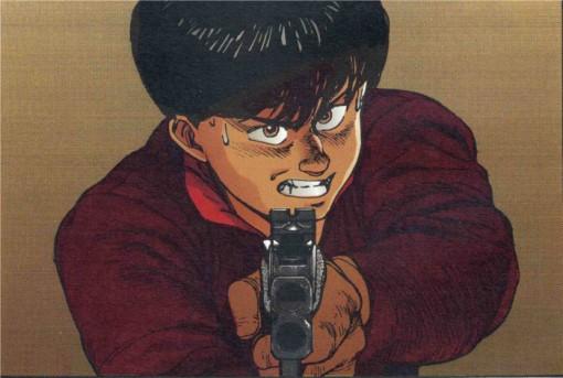 Kaneda tient Tetsuo en joue mais hésite à tirer