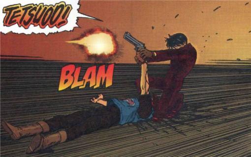 Après beaucoup d'hésitations, Kaneda tire sur Tetsuo après que Tetsuo ait fait exploser la tête de Yamagata, un de ses amis