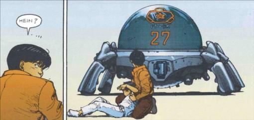 Kaneda et Akira face à un robot de la police après que Kay et Kaneda aient récupéré Akira