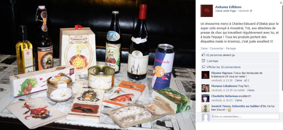 Facebook Ankama avec le pack alimentaire de Noël
