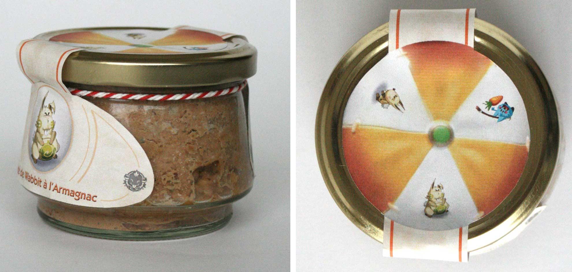 le couvercle du pâté de Wabbit reprend le motif du chapeau du Wa Wabbit