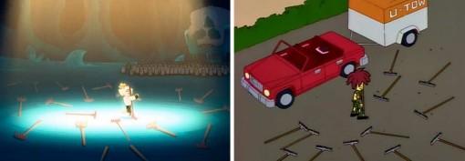 La scène des râteaux de Kerubim est un clin d'oeil à Tahiti Bob dans les Simpsons