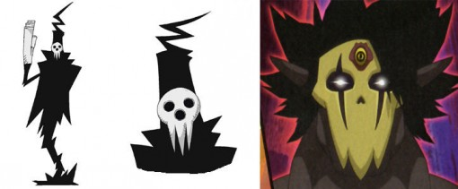 Le masque évoque celui du directeur de l'école de Shinigami de Soul Eater