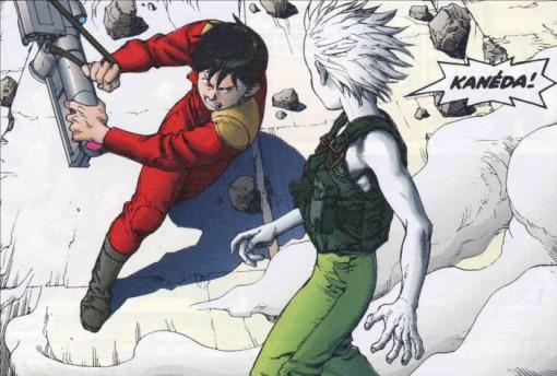 Malgré ses pouvoirs psychiques, Tetsuo va se faire frapper par Kaneda