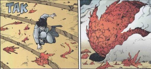 Kay combat Tetsuo transformé alors qu'il perd la forme de son corps