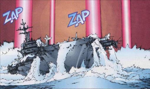 Le porte-avion américain est détruit par leur station spatiale contrôlée par Tetsuo