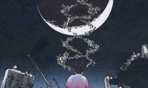 Akira fait léviter le symbole de l'ADN devant lui en attendant que le temps passe