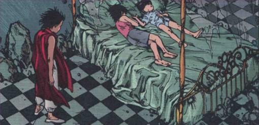 Tetsuo regarde Kaori et Akira dormir a près une journée de jeu
