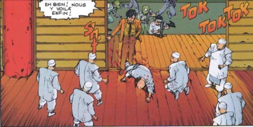 Les soldats d'Akira attaquent le sanctuaire de Lady Miyako pour mettre la main sur Masaru et Kay