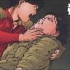 Kaneda tient Kay dans ses bras après l'attaque des mutants dans la cache du colonel