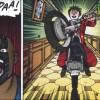 Kaneda face au clown qui lui en veut car il détruit ses moto