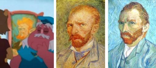 La toile en arrière plan est un clin d'œil à un des nombreux auto-portraits de Vincent van Gogh (Kerubim)