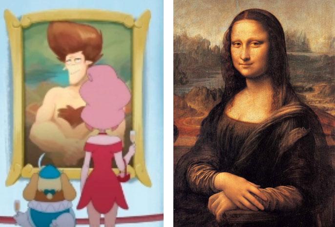 Cette peinture évoque le tableau La Joconde