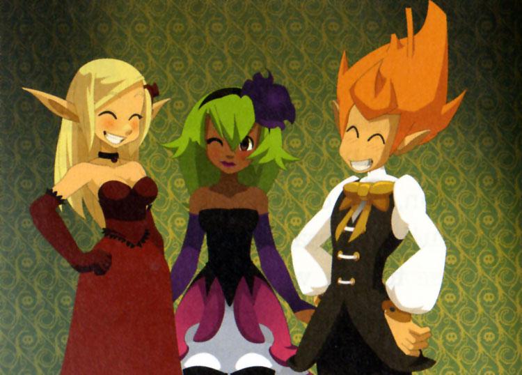 Evangelyne, Amalia et Tristepin en costume de scène