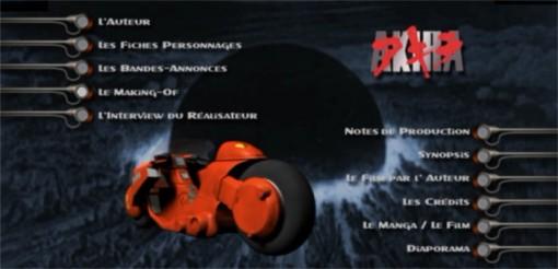 Menu du DVD Akira Edition spéciale 2 DVD