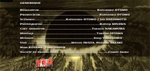 Partie crédit du DVD Akira Edition spéciale 2 DVD