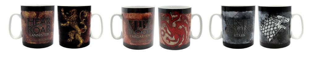 Mugs Games of Thrones avec les familles Lannister, Targaryen et Stark