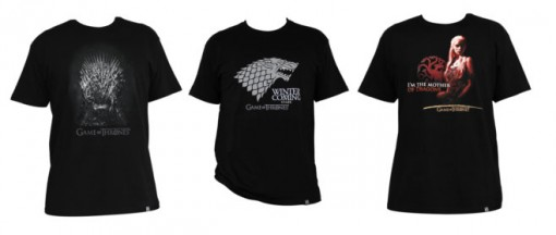 T-Shirts Game of Thrones : le trone, la reine dragon et les stark