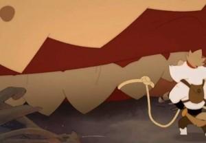 Kerubim attache la corde à une dent du D-Rex