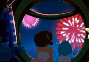 Simone et Joris observent le feu d'artifice