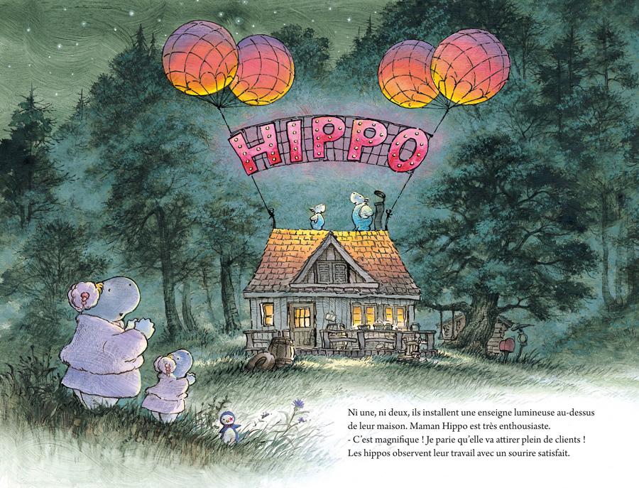 Papa Hippo fait une immense enseigne visible depuis la route