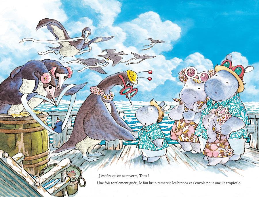 Sur la mer des oiseaux viennent les aider