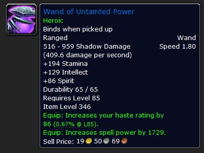 Caractéristique de Wand of untainted Power (version heroique) (source : Wowhead)