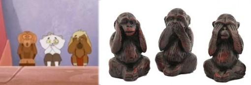 Kerubim et Indie imitent Les trois singes de la sagesse