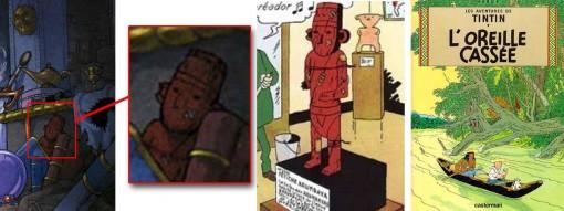 statuette à en bois est tirée de l'album de Tintin L'oreille cassée