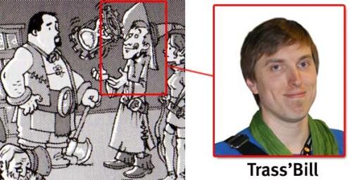 Le personnage qui joue avec un sablier est Trass'Bill celui avec la hache est Philipe Zytka