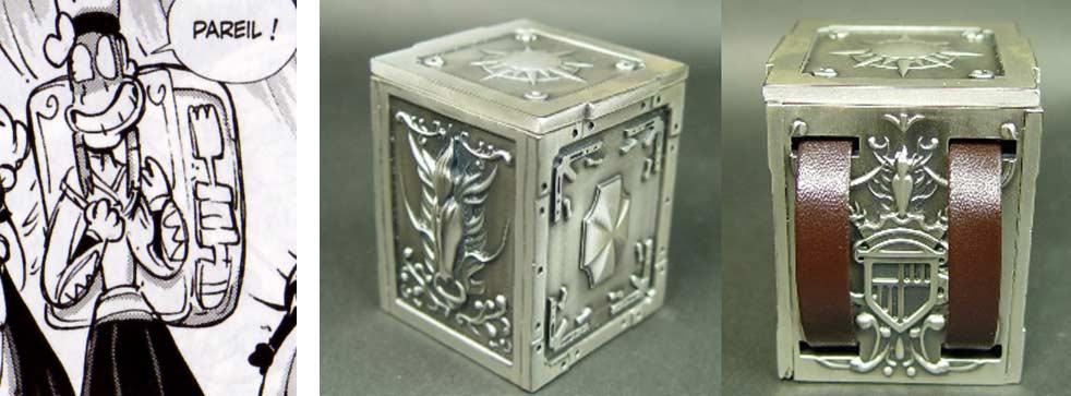 la caisse que porte sur le dos Goultard est un clin d'œil aux caisses qui contiennent les armures dans les Chevaliers du Zodiaque