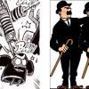 les deux mannequins avec un chapeau melon, une canne et une moustache sont un clin d'œil aux Dupond et Dupont