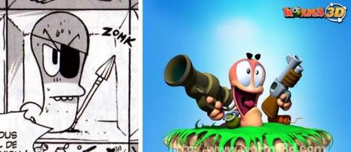 Le ver de terre fait référence au jeu vidéo Worms