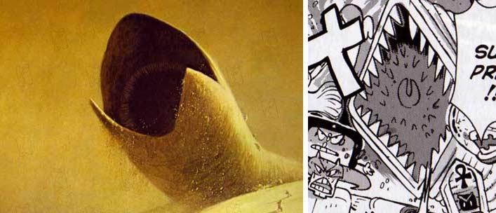 Au centre il y a le ver des sables tiré du film de Dune