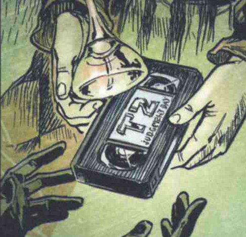 Le Père de Chance donne à Scipio et Pretorius la VHS de terminator 2