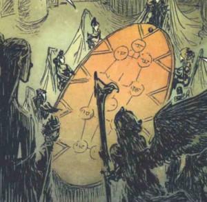 L'Arbre Yggdrasil est sur une table de la cathédrale de l'araignée
