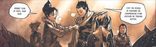 Spartacus part en mission avec Scipio et Pretorius pour acheter des objets vendus par l'immortel