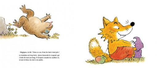 Page 14 / 15 du livre pour enfant Jiroro le renard roublard
